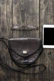 妇女袋子材料 免版税库存照片