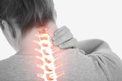 妇女被突出的脊椎充满脖子痛的 库存图片