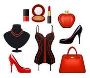 妇女被设置的时装配件 免版税库存图片