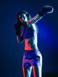 妇女被隔绝的拳击手拳击 免版税库存图片