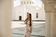 妇女视域在鞑靼斯坦共和国-白色清真寺 库存图片