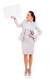 妇女讲话泡影 免版税库存图片