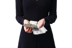 妇女详述美元,关闭  免版税图库摄影