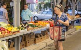 妇女购物在罗阿诺克市农夫市场上 免版税库存照片