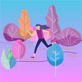 妇女赛跑在公园,跑步的早晨,平的传染媒介例证概念 健康活动 公园,树,灌木在黎明, 库存例证