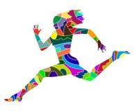 妇女赛跑抽象剪影  免版税库存照片
