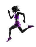 妇女赛跑者连续慢跑者跑步的剪影 免版税库存图片