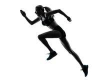 妇女赛跑者连续慢跑者跑步的剪影 免版税库存照片