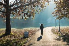 妇女走在一个公园的在一个晴朗的秋天早晨, Kalemegdan 图库摄影