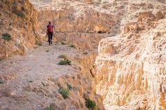 妇女走的沙漠峡谷 免版税库存照片