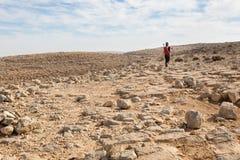 妇女走的石沙漠 免版税图库摄影