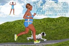 妇女跑的跑步的目标刺激健身梦想 免版税库存图片