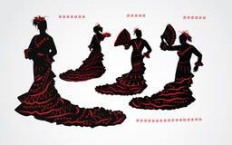 妇女跳舞佛拉明柯舞曲 套黑和红色剪影 免版税库存图片