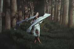 妇女跳舞在飘渺森林里 库存图片