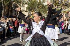 妇女跳舞在巴伦西亚,西班牙 库存照片