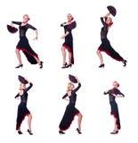 妇女跳舞的西班牙人在白色跳舞隔绝 免版税库存照片