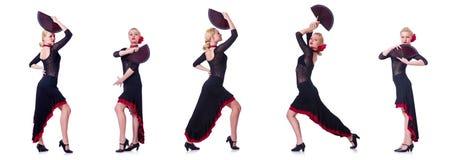 妇女跳舞的西班牙人在白色跳舞隔绝 库存照片