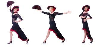 妇女跳舞的西班牙人在白色跳舞隔绝 免版税图库摄影