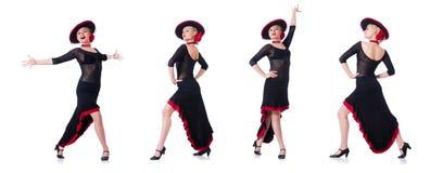 妇女跳舞的西班牙人在白色跳舞隔绝 免版税库存图片