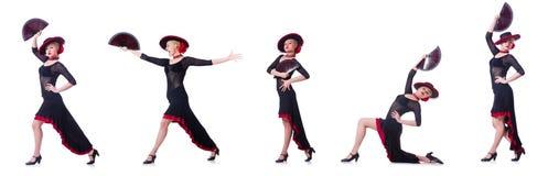 妇女跳舞的西班牙人在白色跳舞隔绝 图库摄影