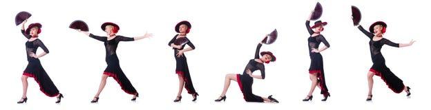 妇女跳舞的西班牙人在白色跳舞隔绝 库存图片