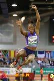 妇女跳远运动员大英国的沙雷普罗克特 图库摄影