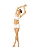 妇女身体秀丽,式样女孩健身锻炼白色内衣 免版税图库摄影