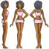 妇女身体-朝向,后面和侧视图 免版税库存图片