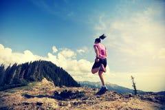 妇女运行在美好的山峰的足迹赛跑者 库存照片