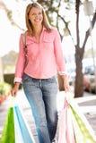 妇女运载的购物 库存照片