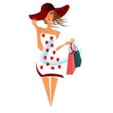 妇女运载的购物臭虫 库存图片