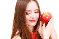 妇女迷人的女孩五颜六色的构成拿着苹果果子 库存照片