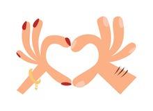 妇女递做心脏形状标志动画片平的浪漫姿态传染媒介例证 免版税库存图片