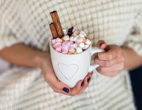 妇女递拿着一个杯子热巧克力用蛋白软糖 免版税库存照片
