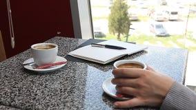 妇女递拿着咖啡和写在咖啡馆的日志 影视素材