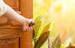 妇女递门户开放主义的瘤或打开门 库存照片