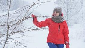 妇女通过多雪的森林走在冬天 妇女手在一个多雪的森林里淋浴从分支的雪 股票视频