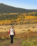 妇女通过秋天风景漫步在旧金山Mounta 免版税库存图片