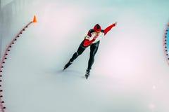 妇女速度溜冰者 免版税图库摄影