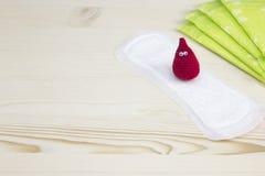 妇女重要天 妇女卫生学保护的月经有益健康的软的垫和钩针编织滑稽的血液滴下 妇产科menst 免版税图库摄影