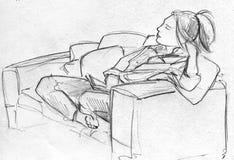 妇女铅笔剪影沙发的 库存例证