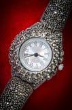 妇女银手表 库存图片