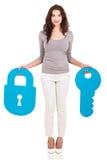 妇女锁住钥匙 免版税库存图片