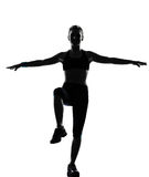 妇女锻炼健身姿势 免版税库存照片