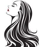 妇女长的发型象,商标在白色背景的妇女面孔 向量例证