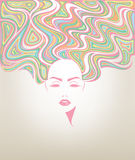 妇女长的发型象,商标妇女面孔 免版税库存图片