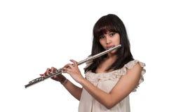 妇女长笛演奏家 免版税库存图片