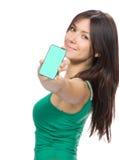 妇女陈列显示移动移动电话 图库摄影