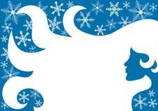 妇女雪花冬天框架边界 免版税库存照片