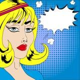 妇女面孔可笑与讲话泡影,流行艺术样式 向量例证